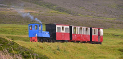 The slow train over the hills (M McBey) Tags: railway narrowgauge scotland tiny train loco locomotive leadhills wanlockhead red green blue