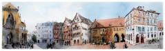 Colmar - Alsace - France (guymoll) Tags: colmar alsace france cathédrale place colombages timbered panoramique panoramic aquarelle watercolour watercolor aguarela acuarela