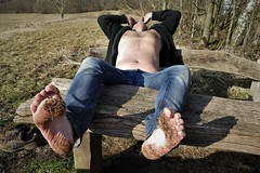 muddy feet (marcostetter) Tags: hiking hairy hunk hairychest hairybody handsome nature legs landscape levis fashion feet forest jeans barefoot bluejeans cool chest colours walking wandering park portrait people publicdomain