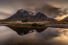 White cottage at the banks of the river Coe, Glencoe, Scotland (Michael Long Landscaper) Tags: canon canoneosr canon1635mm landscape landmark travel tripod sky sunset scottishhighlands scotland scottish visitscotland village houseonthelake white house view uk gitzo benro nisifilters natural light mountain mountainscape season river valley glencoe hillside coe rivercoe remote island isolated outdoors rural farmhouse countryside walking etive mor climbersbase