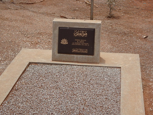Broken Hill cemetery. In the Muslim section is a war grave from a local man who served with Australian forces probably in World War One. A Aziz. 24th Infantry Battalion.