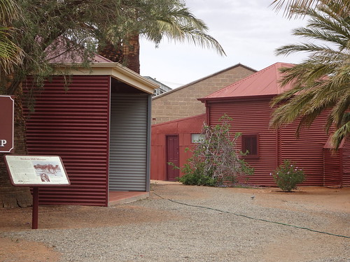 Broken Hill. The entrance to the grunds of the mosque. Its signage is wrong. It is nto the only mosque in Australia and it was not the first. Adelaide mosque was built in 1889. This tin shed was built in 1891.