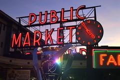 Trophy (jeffr71) Tags: seattle publicmarket pikestreet soccer mlschampions sunset neon sky trophy