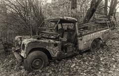 Land Rover (l4ts) Tags: landscape derbyshire peakdistrict whitepeak hartington narrowdale landrover wreck sepiatoning monochrome pickup narrowdalehill