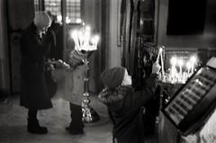 (.Laedin) Tags: rangefinder film analog jupiter8 юпитер8 50mm soviet lens ilford 400ei800 400800 push 1 d76 developer bw black white monochrome street people photography church night киев2а kiev2a
