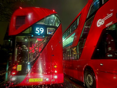 Buses (sixthland) Tags: london rain iphonexs routemaster cameraphone nightphotography neuralcam blipfoto doubledecker flare