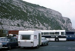 Waiting for the Channel ferry to Europe Dover 1977 (D70) Tags: 1975 peugeot 504 knaus caravan dover doverdistrict england uk waiting channel ferry europe 1977 slide film car trailer halfframe kodachrome64 whitecliffs cliffs chalk aec swift