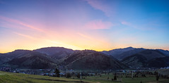 Gyimes  valley sunset pano (Pásztohy) Tags: sunset gyimes landscape transylvania mountains horizon pink hour colors panorama village