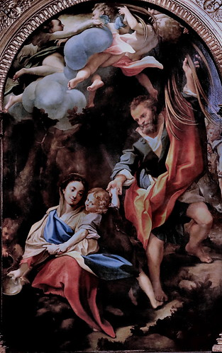 IMG_5897 Il Correggio (Antonio Allegri) 1498 -1534 Parme Riposo durante il ritorno dall'Egitto detto Madonna della scodella Rest during the return from Egypt called Madonna of the bowl Galleria Nazionale di Par