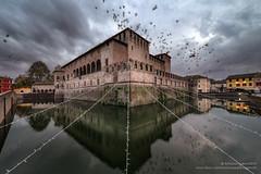 the castle on the water (antoniopedroni photo) Tags: castello fontanellato fossato uccelli birds moat castle nuvole clouds