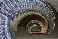 (Elbmaedchen) Tags: staircase stairwell stairs stufen steps treppenauge treppenstufen treppenhaus escalier roundandround interior upanddownstairs helix spirale spiral architektur architecture beauty abwärts geländer unterwegsmitfotopetra metall verzierung