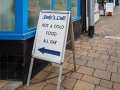Castleford 014 (Peter.Bartlett) Tags: urban shopfront uk m43 microfourthirds cafe shopwindow olympuspenf sign unitedkingdom westyorkshire colour castleford england