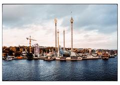 (schlomo jawotnik) Tags: 2019 oktober stockholm schweden vergnügungspark achterbahn kran schiffe fähre karussell ufer bäume wasser wolken analog film kodak kodakproimage100 usw