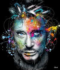 JOHNNY HALLYDAY-by SylvainBinet-Tirage-15exemplaires (design by jaler Paris) Tags: peinture johnny hallyday