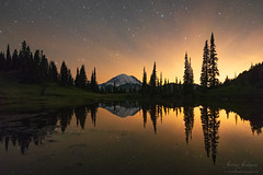Enchanted Reflections (jeremyjonkman) Tags: moonset mount rainier sunrise lake tarn reflection reflections mirror mirrored snow glacier star stars climber climbers national park
