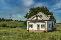 Partly Cloudy on the Farm (Kool Cats Photography over 13 Million Views) Tags: windmill pasture house neglected abandoned architecture oklahoma outdoor photography clouds grass green landscape trees windows door