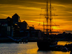 Sunset over the Jeanie Johnston Tall Ship and River Liffey - Dublin Ireland (mbell1975) Tags: storestreet dublin ireland sunset over jeanie johnston tall ship river liffey ie éire eire airlann poblacht na héireann irland irlanda irlande irish baile átha cliath vessel sail yellow orange water