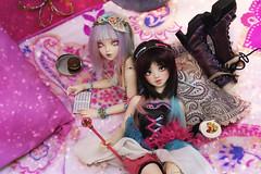 fairy tea ♪ (Mei') Tags: bjd ball jointed doll minifee fairyland chloe unoa lusis japan kawaii tea party pink magical resin