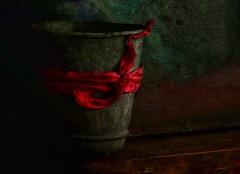 Tin pot with ribbon (Christine Padmore) Tags: silk crimson still metal flowerpot ribbon stilllife