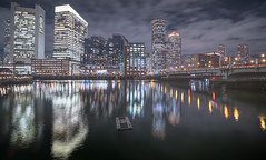 Panorama view over fort point channel (Eric Wehmeyer) Tags: boston water night city longexposure panorama
