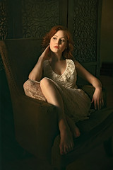 Thinking ({jessica drossin}) Tags: jessicadrossin face portrait redhair redhead dress lace chair sitting dark light natural painterly wwwjessicadrossincom