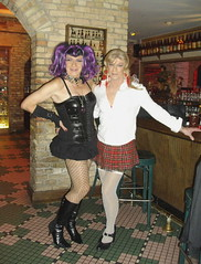 Ghosts Of Halloweens Past: Laurette And Lorri (Laurette Victoria) Tags: laurette lorri mini boots fencenets punkgirl bustier gloves choker milwaukee halloween