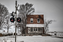 Resilient (Dawn Loehr Photography) Tags: dawnloehrphotography dawnmarieloehr abandoned abandonment rural ruraldecay landscape landscapephotography illinois traincrossing brick winter snow