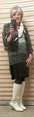 White Boot Shaft Detail (krislagreen) Tags: boots white sweaterdress patent jacket tights tgirl tg transgender