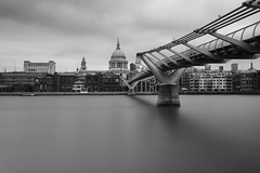 *** (jarekwojtowicz) Tags: milleniumbridge stpaulcathedral blackandwhite thamesriver longexposure bnwdrama fujifilm urban architecture city ndfilter london