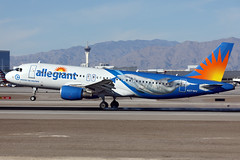N271NV - Airbus A320-214 - Allegiant - KLAS - Nov 2019 (peachair) Tags: n271lv airbus a320 allegiant winter dolphin klas las special paint