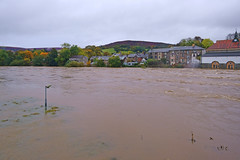 Photo of Builth Wells during the October floods