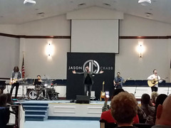 Jason Crabb And Band. (dccradio) Tags: nc northcarolina indoor indoors inside sanctuary auditorium lumberton churchsanctuary robesoncounty church stairs carpet concert stage steps livemusic performance band samsung galaxy christianmusic gospelmusic jasoncrabb j7v smj727v music musicians evening guitar flag cellphone guitars singer backdrop friday bassguitar fridaynight cellphonepicture microphonestand fridayevening goodevening november lights illuminatedlights