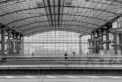 walk on by (Renate R) Tags: berlin hauptbahnhof blackwhite germany trainstation people architecture bahnhof