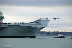 Prince of Wales (Rob_Pennycook) Tags: aircraftcarrier princeofwales royalnavy portsmouth solent wildcat helicopter piper