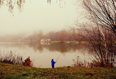 autumn fishing (majka44) Tags: fisherman blue lake tree nature košice slovakia people autumn fishing nice atmosphere water mood reflections mirror grass leaves fog waterscape