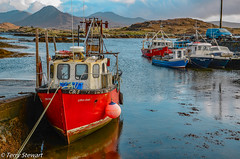 Secluded harbour at Derryherbert in County Galway  Ireland (rtstewart000) Tags: boats sea fishing harbour pier westofireland galway mayo kylemore scenic tour sky nets lines wwb