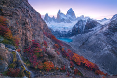 Peek'a-Boo (Maddog Murph) Tags: el chalten fitz roy patagonia mountain mons mount mt fall autumn waterfall sucia lago lake river glacier red orange blue dusk sunset civil twilight glow moraine crag cliff rock rocky