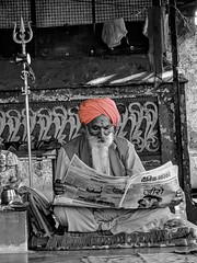 India series .. even Guru's read the news (Nick Kenrick.) Tags: turban hindu selective newspaper reading