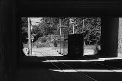 Ex-Basel tram № 666 near Sofia power plant (vladixp) Tags: ilford delta3200 delta3200800 ei800 6min 20c xtol stock praktica mtl5 flektogon k2 pf7250u 3600dpi 35mm yellowfilter filmscan 35mmfilm film bw bwfilm filmphotography negative scanned revuenon 135mm skgt tram streetcar basel gurken