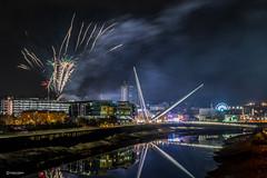 Fireworks display @Newport City Centre (andyp178) Tags: fireworks display explosion night river reflection newport bridge footbridge smoke longexposure sigma nikon