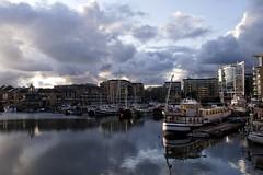 Dusk over Limehouse Basin (marc.barrot) Tags: x100f boats marina bluehour dusk grandunioncanal regent'scanal uk e14 london towerhamlets limehouse limehousebasin