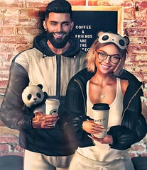 [ 📷 - 179 ] (insociable.sl) Tags: streetwear cold puffyjacket hoodie ink tattoo glasses shades beard smile cute companion pet animal mug cup kitchen livingroom pub bar starbuck panda coffee happiness girl female woman man male boy bae love couple girlfriend edit sl secondlife