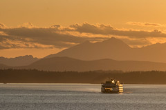 Puget Sound Ferry (Oleg S .) Tags: usa ship sunset cloud water mountains nature bay washingtonstate seattle ferry