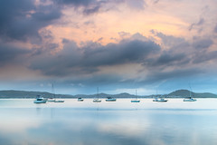 Clouds, Boats and Reflections - Bay Waterscape (Merrillie) Tags: sunrise dawn cloudy daybreak morning sky nature clouds landscape boats grey bay earlymorning coastal nsw newsouthwales foreshore tascott brisbanewater koolewong water outdoors australia centralcoast waterscape