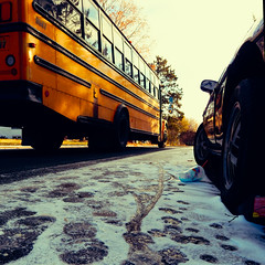 TW708: The morning bus (1 of 2) (Thiophene_Guy) Tags: thiopheneguy originalworks olympusxz1 xz1 autumn utata:project=tw708 thursdaywalk utatathursdaywalk low perspectivefloor perspectiveground perspective bus schoolbus