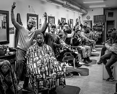Baltimore Barbershop. (crabsandbeer (Kevin Moore)) Tags: baltimore barbershop city fellspoint urban people street bw monochrome blackandwhite thefinger haircut maryland portrait men
