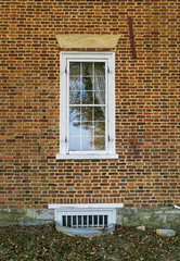 Window, William Owsley House — Lancaster Vicinity, Garrard County, Kentucky (Pythaglio) Tags: house dwelling residence historic farmhouse williamowsley twostory brick fivebay classicalrevival flemishbond lancaster kentucky garrardcounty 66windows splayed stone lintels porch pedimented twostoryporch jerkinroof nrhp nationalregister 75000763