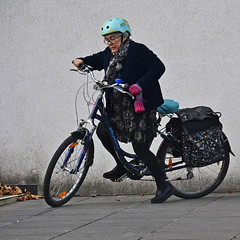 she´s a rider (t.horak) Tags: helmet bicycle old lady woman start square bags leaves