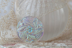 In reserve... (hehaden) Tags: button glass iridescent vintagelace perfumebottle macro sel90m28g