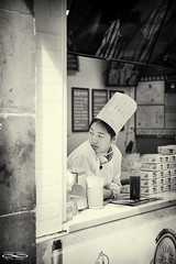 Food Truck Worker.jpg (outlaw.photography) Tags: infinityimages streetphotograohy d850 faces outlawphotography china102019 chrisdaugherty worker people photography blackwhite streetphotography architecture youngwoman streets light